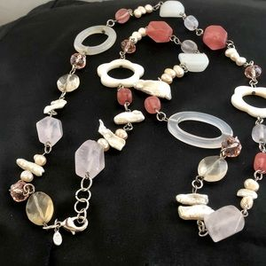 Multi Stones Mother of Pearl Pearls Necklace